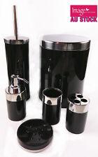 6pcs Modern Bathroom Set Rubbish Bin Toothbrush Holder Soap Dispense BLACK