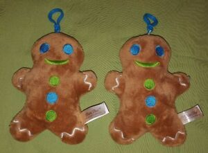 """Dan Dee 6"""" Gingerbread Cookie Man Plush Toy Backpack Clip Christmas Ornament Lot"""