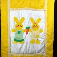 Vintage Bunny Quilt Baby Farmhouse Comforter Applique Yellow Polka Dot JUDI's