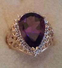 Stunning Vintage Amethyst & Diamonds 14K Yellow Gold Ring  sz 6 ((220))