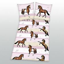 PINK STRIPE HORSE PONY COTTON DUVET COVER AND PILLOWCASE – GIRLS BEDDING SET