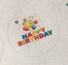 "63 Happy Birthday Balloons !!! ENVELOPE SEALS LABELS STICKERS 1"" ROUND LABELS"
