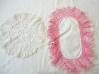 Doilies 2 Hand Crochet Roller Coaster Edge 1 Pink 1 White Assorted Sizes
