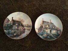 2 English Country Cottages Plates by M Bell Lullabye Cottage & Murrle Cottage