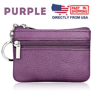 Women's Genuine Leather 2 Zipper Pockets Key Ring Coin Purse Mini Pouch Wallet