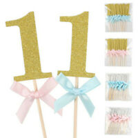 10Pcs Boys Girls Glitter Paper First Birthday Cake Toppers 1st Year Party Decor