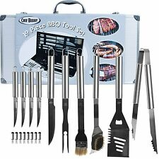 Large Stainless Steel Barbecue Grill Tool Set 19 Piece Utensils Tools Case Hook