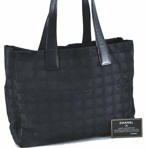 Authentic Chanel New Travel Line Nylon Shoulder Tote Bag Black  E1764