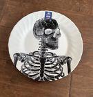 Royal Wessex Halloween 2 Dinner Plates Black & White Skulls Skeleton New