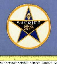 COLES COUNTY SHERIFF (Old Vintage) ILLINOIS Police Patch STATE SHAPE OUTLINE