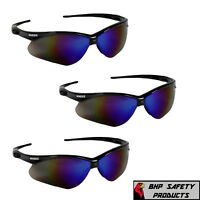 (3 PAIR) JACKSON NEMESIS SAFETY GLASSES BLACK FRAME BLUE MIRROR SUNGLASSES 14481