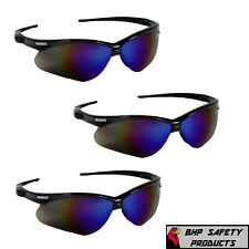 (3 PAIR) JACKSON NEMESIS SAFETY GLASSES BLACK FRAME BLUE MIRROR SUNGLASSES 14481