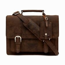 Medium Handmade Premium Brown Leather Satchel Briefcase Laptop Bag RRP £99.99