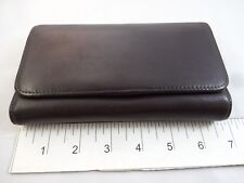 $120 Leatherology Womens Dark Brown Leather Trifold Checkbook Wallet