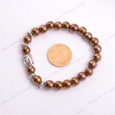 Wholesale Natural Gemstone Round Beads  Buddha Head Stretchy Bracelets 8MM