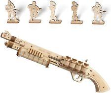SHOTGUN Rubber Band Gun Pistol Grip 870 Wood Model Kit ROKR 3D Puzzle Toy DIY