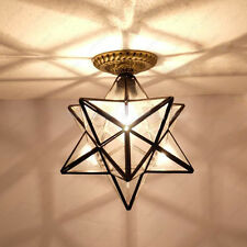 Star 3W LED Ceiling Light E27 Lamp Bulb 8 inch Clear Glass Lampshade Living Room