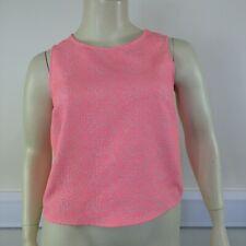 F&F Ladies Orange Fluro Neon Leopard Sleeveless Short Blouse Top UK Size 16