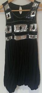 VGC Julien Macdonald Kids Girls Sleeveless Silver Sequins Sparkle Party Dress