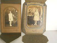 2 Vtg 1930s First COMMUNION Photo Folders Girls White Dress Veil Rosary Chicago