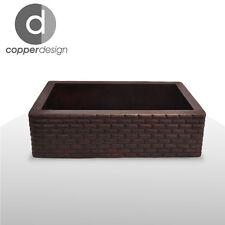 "Hammered Copper Apron Farmhouse Kitchen Sink Brick Dsg 22""x16"""