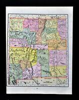 c 1890 Cram Map New Mexico Taos Santa Fe Albuquerque Los Lunas Cimarron Mora
