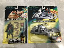 Batman Forever Transforming Dick Grayson and Robin Cycle Lot 1995 MOC