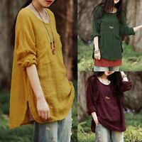 Women Batwing Vintage Loose Casual Solid Tops Pullover Jumper Shirt Blouse Plus