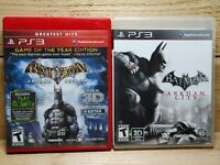 PS3 Batman Video Game Lot Arkham Asylum Game Of The Year & Arkham City Tested
