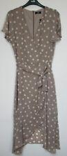 New Wallis Taupe Polka Dot Wrap Print Midi Dress Size 10 - 16