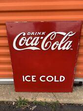 VINTAGE enjoy Coca Cola Sign Embossed