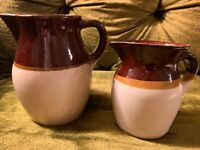 RRP Co Roseville Ohio USA Stoneware Pottery Brown Set Of Pitcher & Creamer VTG