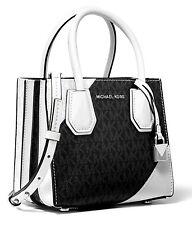 Michael Kors Bag Mercer Md Accordion Messenger Black Look White New