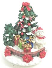Holiday Christmas Trees Snow Man wit Gifts Jar Candle Topper Excellent Condition