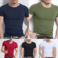 Hombre Corte Slim Algodón Suéter Camiseta Casual manga O / cuello en V Estilo