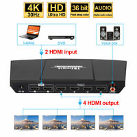TESmart Ultra HD 2x4 HDMI  Splitter Amplifier Repeater Support 2 In 4 Out 4K