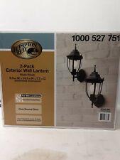 "(2 PIECE) Hampton Bay Black Outdoor Metal Wall Lantern Sconce 14.5"" -  NEW"