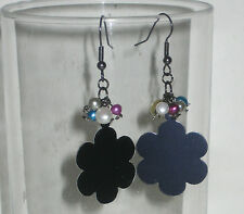 NEW Cute Hematite Black Flower Earrings with Multicolored Pearls Claires Fuego