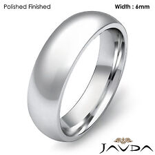 Solid Platinum Plain Dome Wedding High Polished Band Mens Comfort Ring 6mm 14.7g