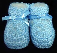Baby Goods Baby Knitted Crochet Booties Newborn  Blue 12 Pairs Lot  ( E00215B#)