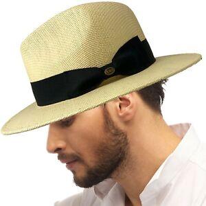 """Men's Summer Lightweight Panama Derby Fedora Wide 2-3/4"""" Brim Hat Natural S/M"""