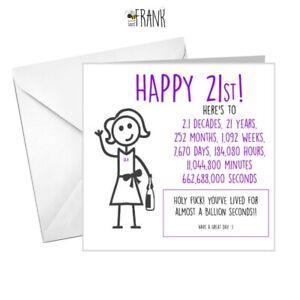 Funny, alternative, sarcastic, BIRTHDAY card. 21st birthday.  Friend/Niece/BFF