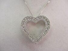 "14K White Gold 136 Diamond Heart Shape Pendant Necklace 18"""