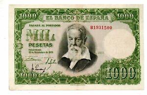 Aus061 Spanien 1000 Ps 31.12.1953 B KN 7stellig