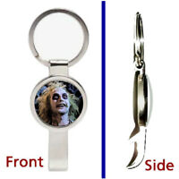 Beetlejuice Face Pendant or Keychain silver tone secret bottle opener