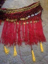 Falda de flecos de Danza del Vientre Hip Bufanda-moneda cinturón tribal Estilo Envolvente Banda en la cintura