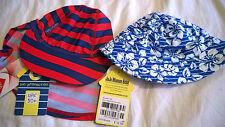BNWT Jojo Maman Bebe baby boy 0-6 months sun hats bucket flap blue red striped
