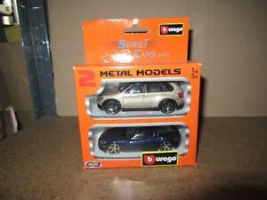 532Q Burago Set BMW X5 Silver Chevrolet Corvette C5 2004 Bleu 1:43 Neuf + Boite