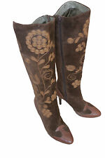SAM EDELMAN BROWN SUEDE FLORAL Embroidered BOOTS  SIZE US 37.5 UK 5