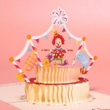 3D Funny Cake Circus Wedding Birthday Party Christmas Gift Greeting Cards